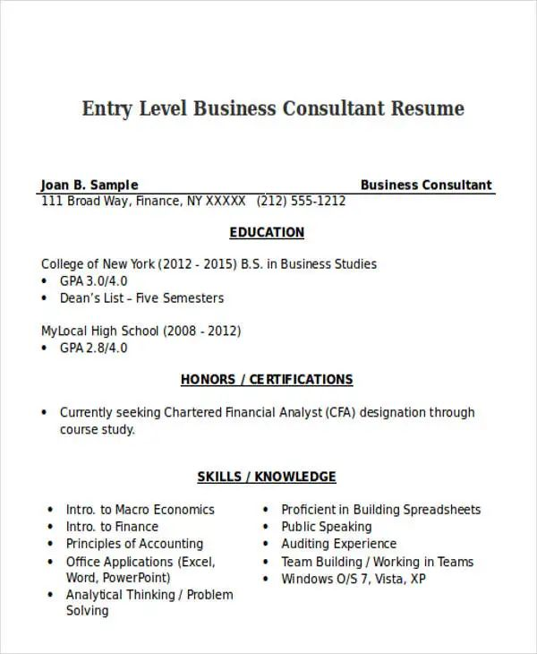 business analyst consultant sample resume