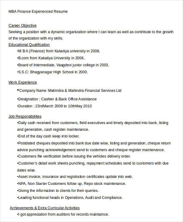 23+ Finance Resume Templates - PDF, DOC Free  Premium Templates