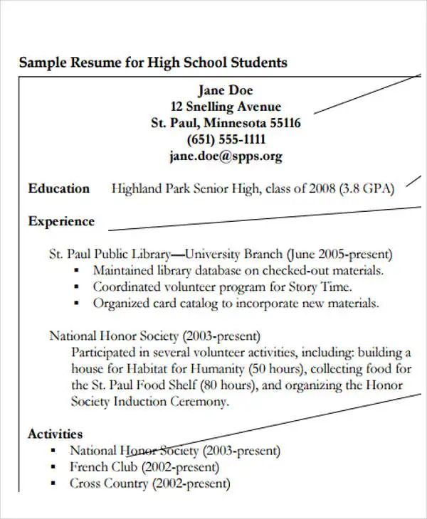 high school resume format examples