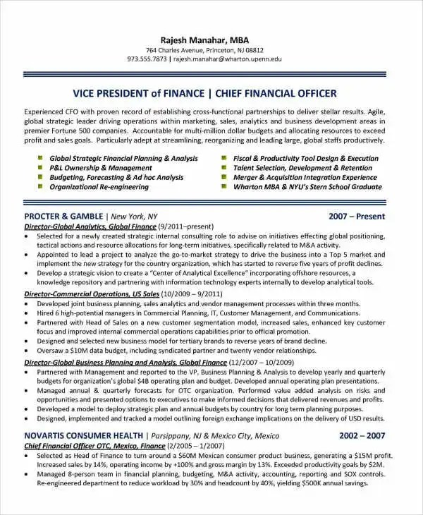 Finance Resume Examples- 28+ Word, PDF Documents Download Free - chief financial officer resume
