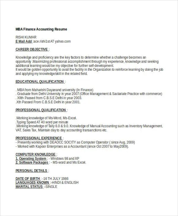 40+ Basic Finance Resume Templates - PDF, DOC Free  Premium Templates - doing a resume
