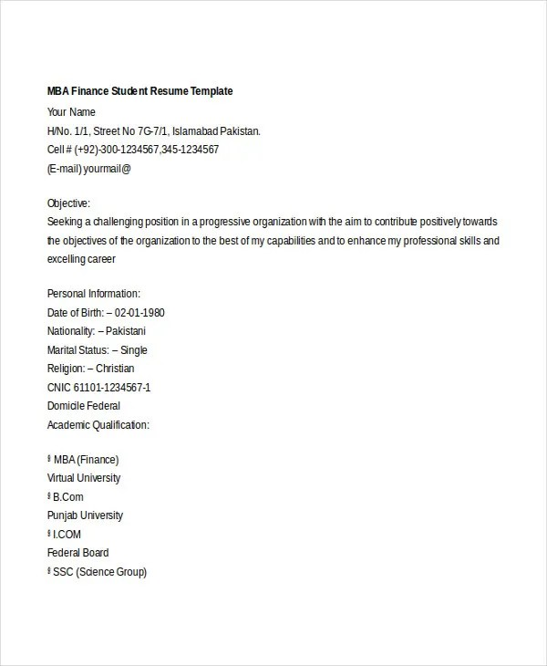 Basic Finance Resume - 44+ Free Word, PDF Documents Download - finance student resume