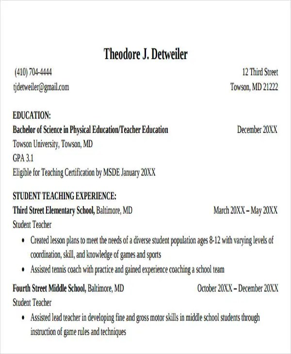20+ Education Resume Templates in PDF Free  Premium Templates - physical education resume
