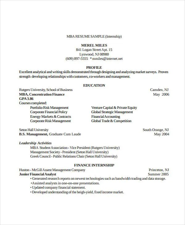 Finance Resume Examples- 28+ Word, PDF Documents Download Free - finance student resume
