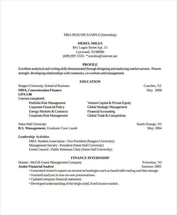 business internship resume sample
