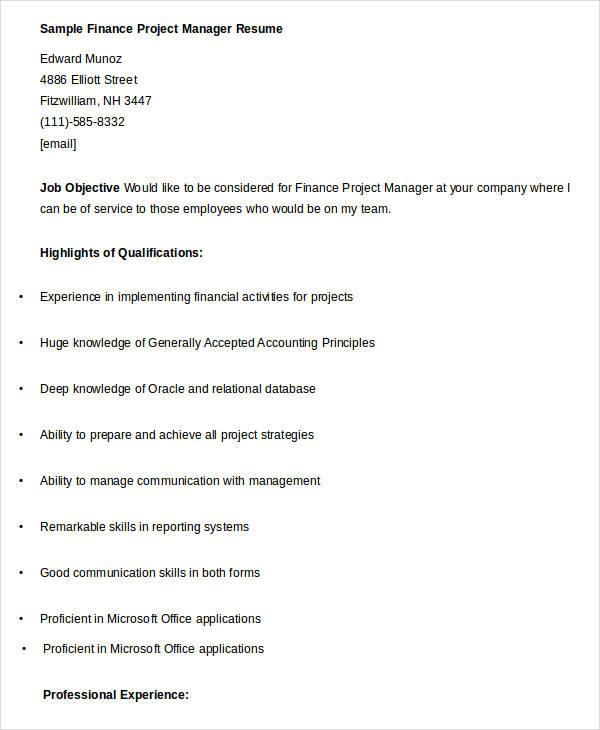 sample finance resume entry level