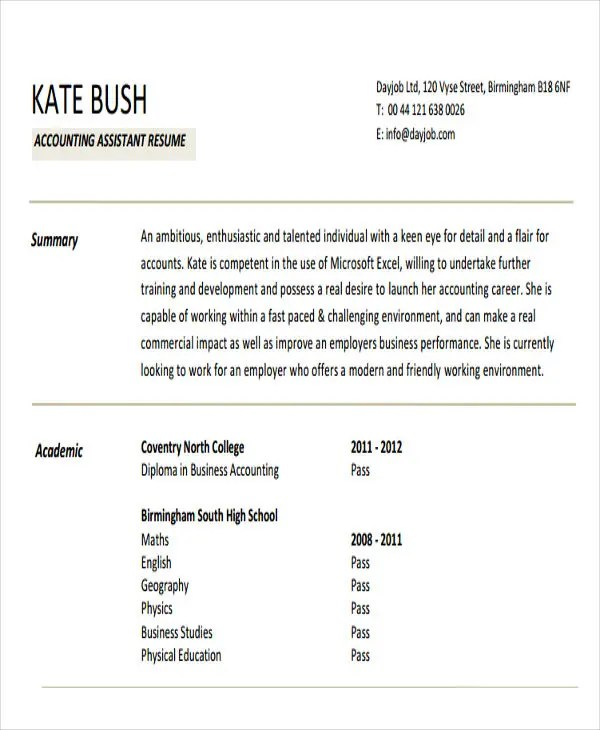 21+ Accountant Resume Templates Download Free  Premium Templates - accountant assistant resume