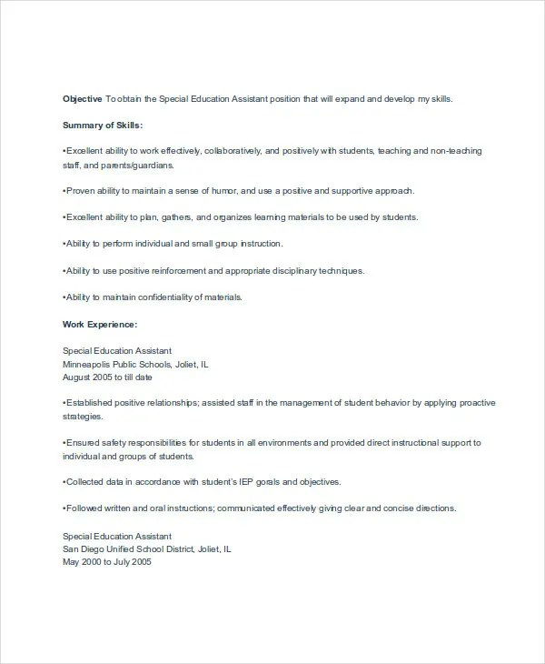 Special Education Assistant Resume teacher assistant resume - personal assistant cover letter