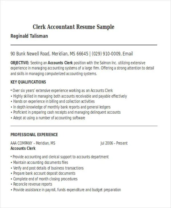 24+ Accountant Resume Templates Download Free  Premium Templates - systems accountant sample resume