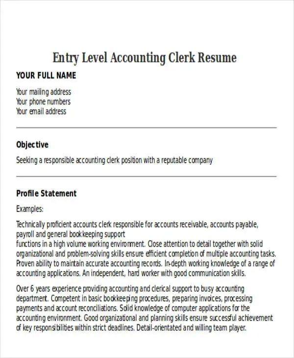 entry level accounting clerk resume samples