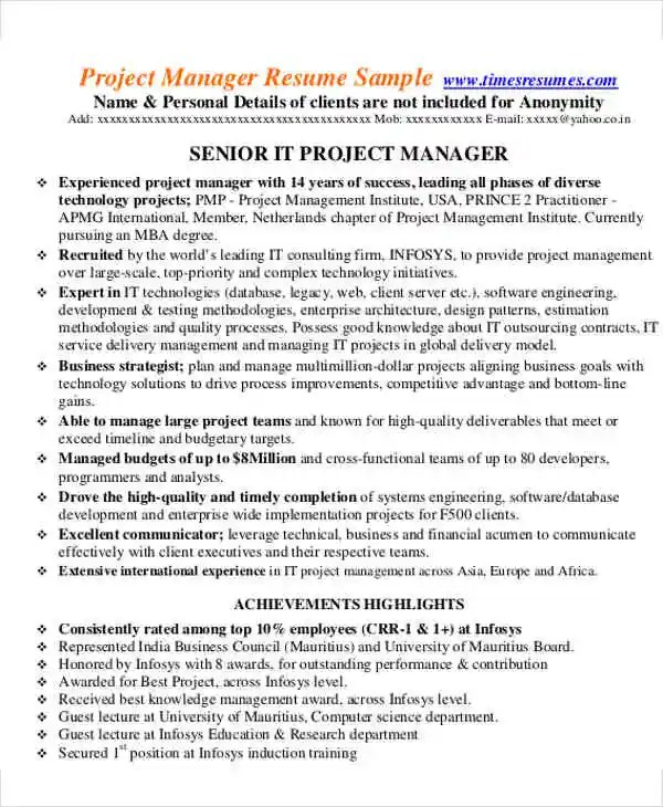 54 Manager Resumes in PDF Free \ Premium Templates - project management resumes