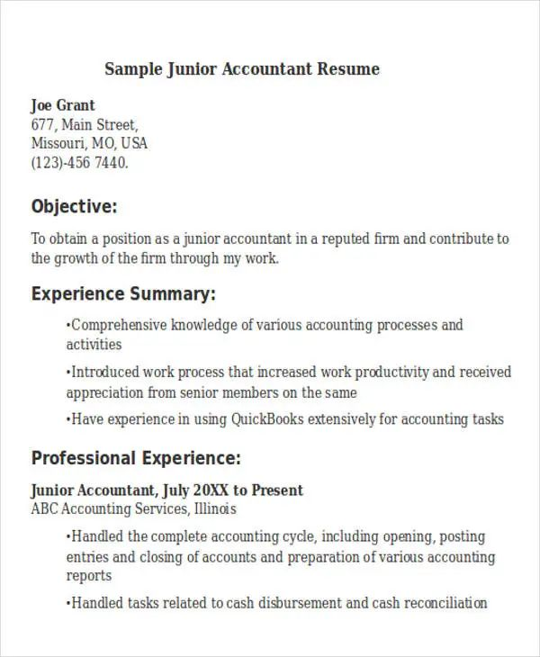 resume for accountant position
