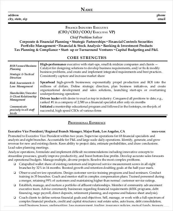 cfo sample 1jpg cfo resume template top 8 business intelligence - cfo sample resume
