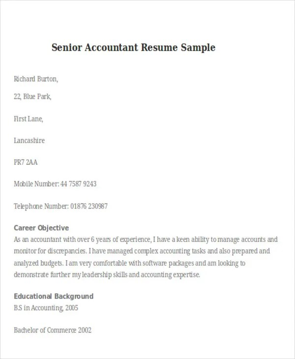 Accounting Resume Samples Cvlettercsat - senior accountant resume sample
