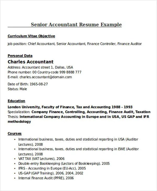 21+ Accountant Resume Templates Download Free \ Premium Templates - senior accountant resume sample