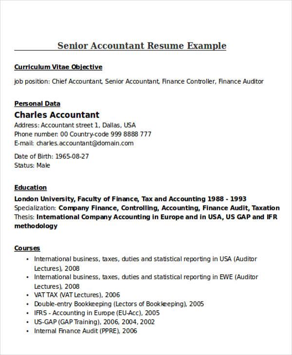 21+ Accountant Resume Templates Download Free  Premium Templates