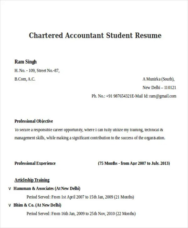 21+ Accountant Resume Templates Download Free \ Premium Templates - accounting student resume