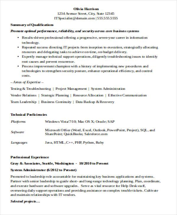 30+ IT Resume Templates in Word Free  Premium Templates - it resume example