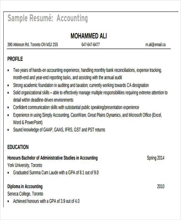 24+ Accountant Resume Templates Download Free  Premium Templates
