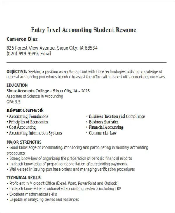 21+ Accountant Resume Templates Download Free  Premium Templates - accounting student resume