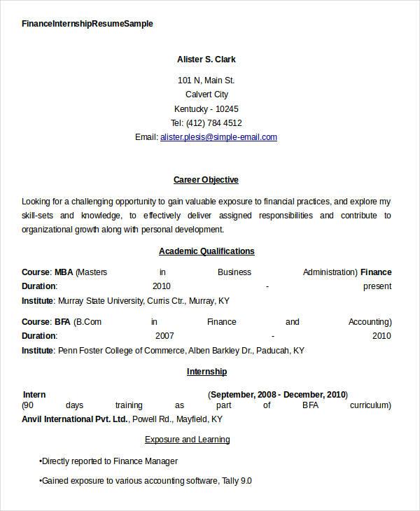 23+ Finance Resume Templates - PDF, DOC Free  Premium Templates - finance internship resume sample