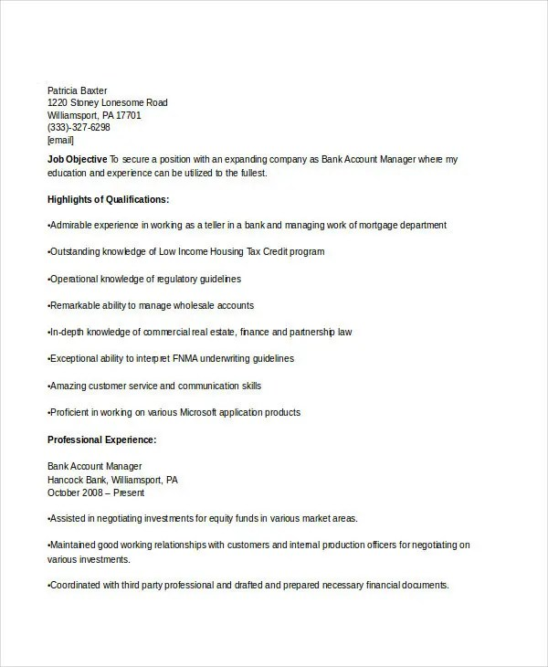Manager Resume sample Templates - 43+ Free Word, PDF Documents - account manager resume samples