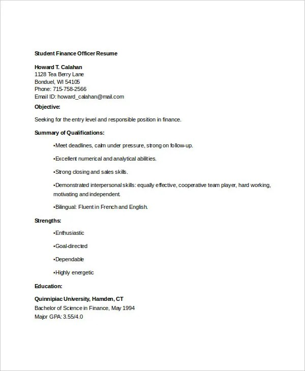 Finance Resume Templates- 28+ Free Word, PDF Documents Download - finance student resume