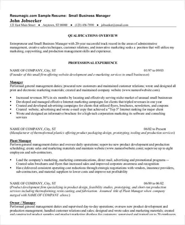 54 Manager Resumes in PDF Free  Premium Templates - Resume Business Manager