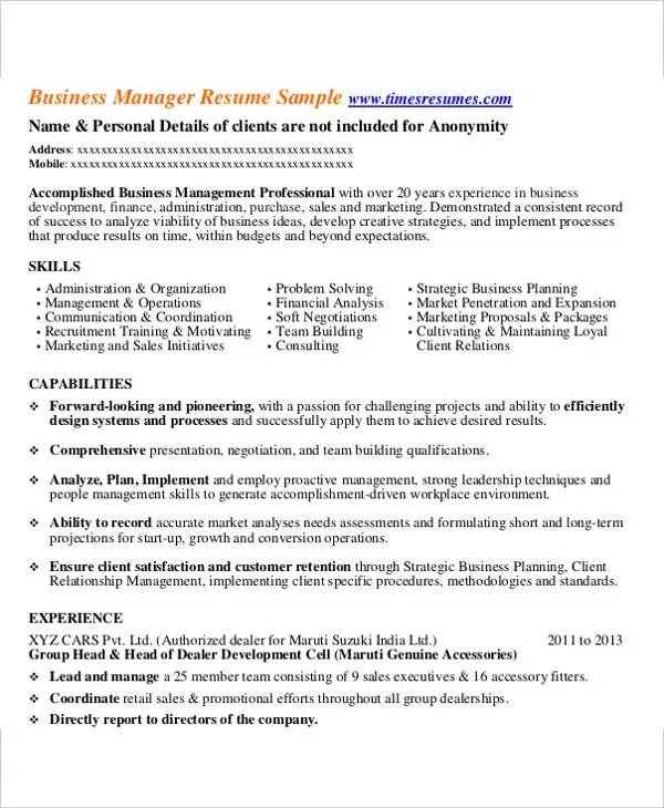 business manager resume samples - Minimfagency