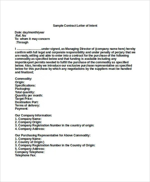 40+ Letter of Intent Templates - Free Word Documents Download Free