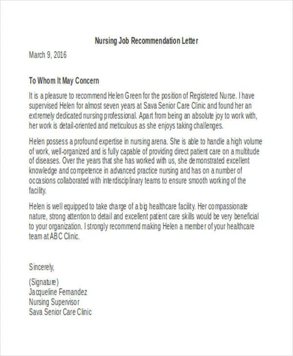 letter of recommendation template nursing