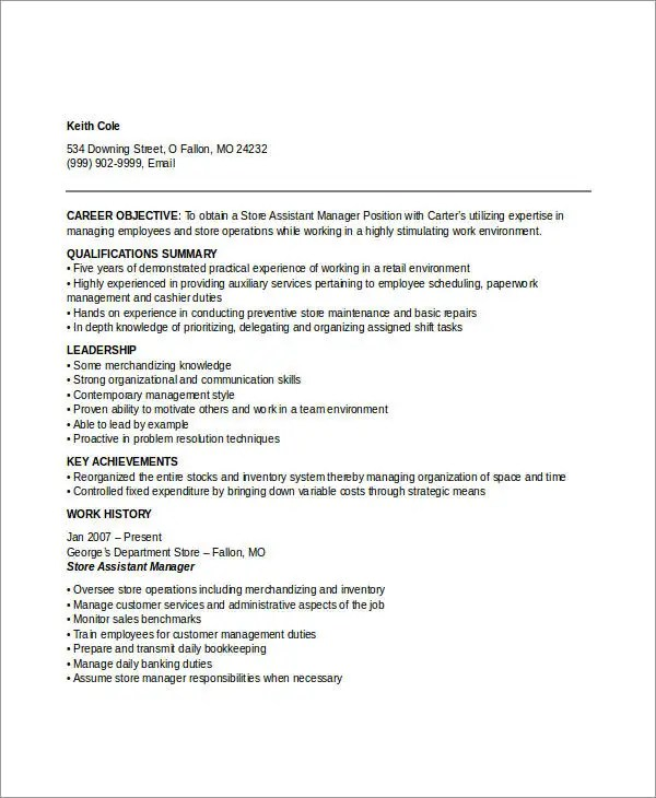 Manager Resume sample Templates - 43+ Free Word, PDF Documents