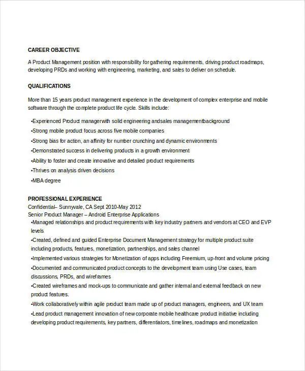 sample resume for senior manager