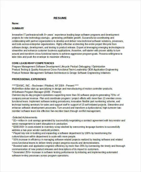 Manager Resume sample Templates - 43+ Free Word, PDF Documents - program manager resume sample