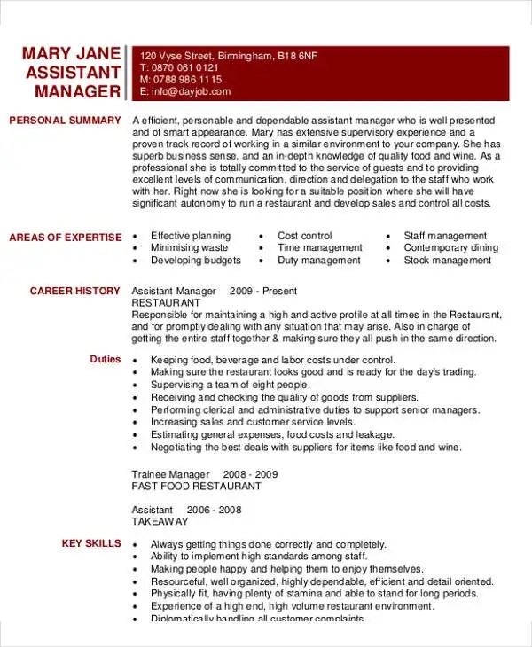 Assistant Restaurant Manager Resume Template Microsoft Word Cv - resume template for restaurant manager