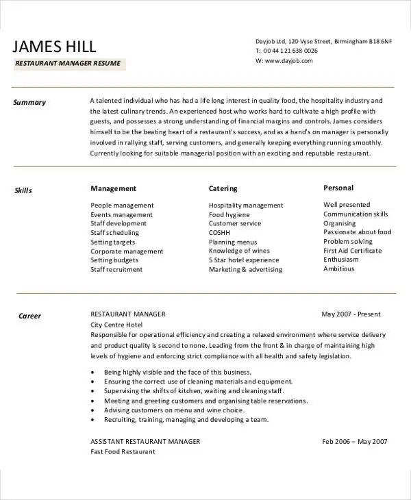 resume examples for restaurant manager 3slufsluidsprekers