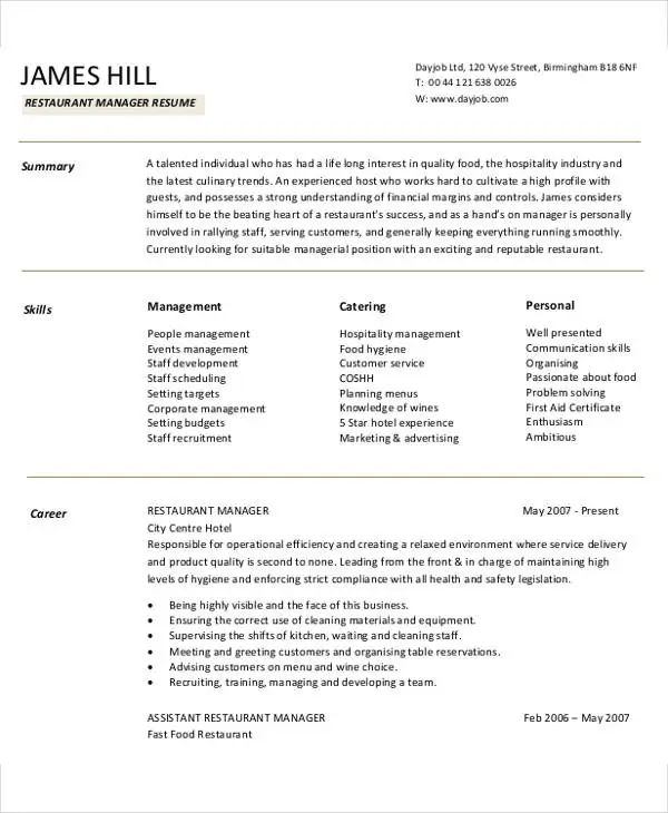 resume sample for manager at a restaurant