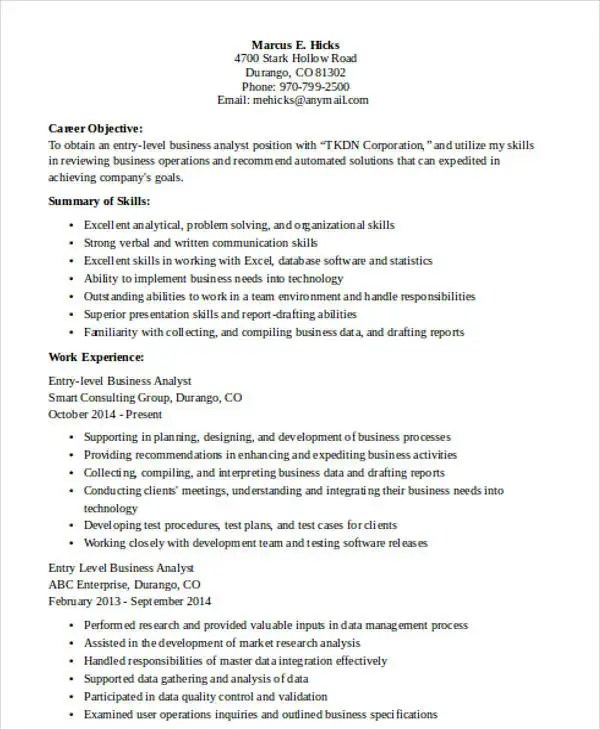 entry level data analyst resume 100 images confortable