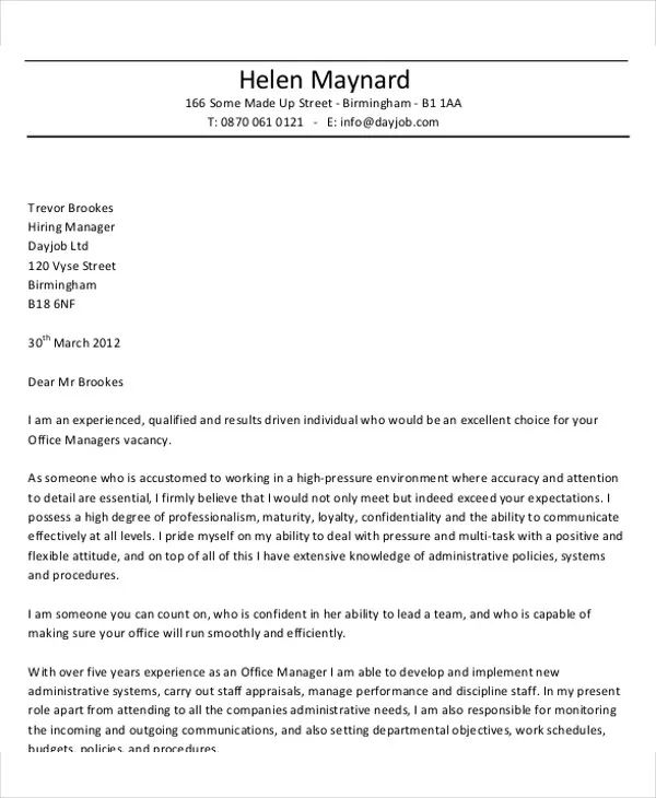 resume cover letter for business manager