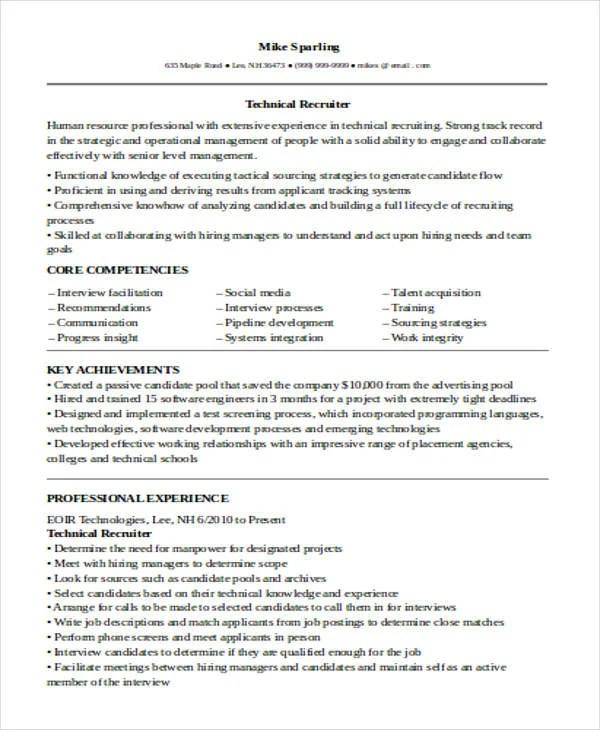 Sample Resumes Hr Recruiter Or Human Resources Recruiter Sample