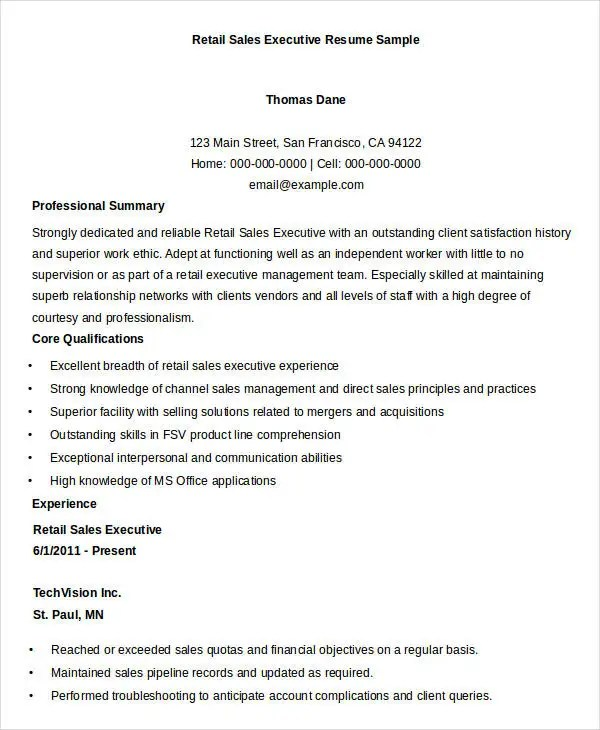 Executive Resume Templates - 27+ Free Word, PDF Documents Download - sales executive resume
