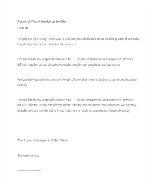 45+ Thank You Letter Example Templates Free  Premium Templates - personal thank you letter