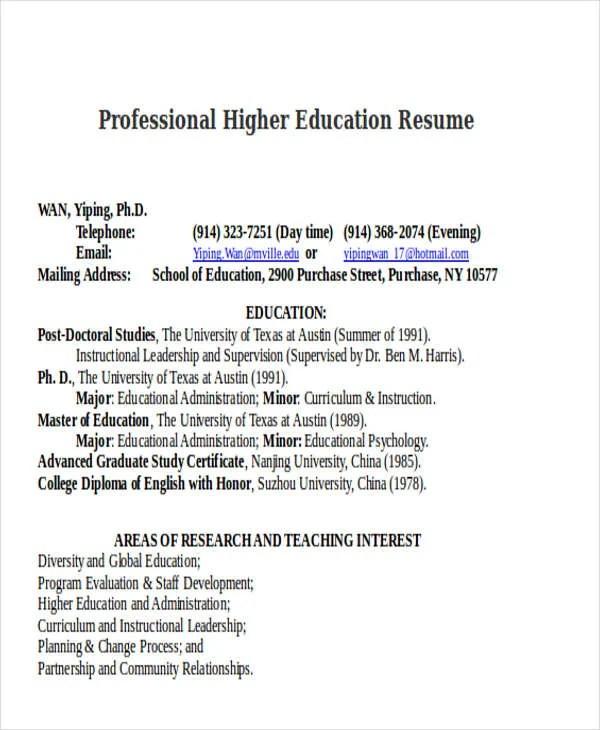 14+ Education Resumes in Word Free  Premium Templates