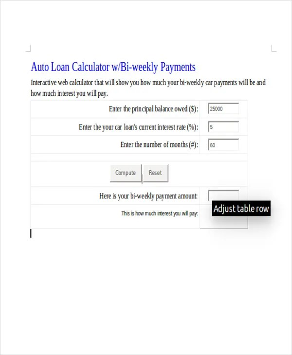 7+ Car Loan Amortization Schedule Free  Premium Templates