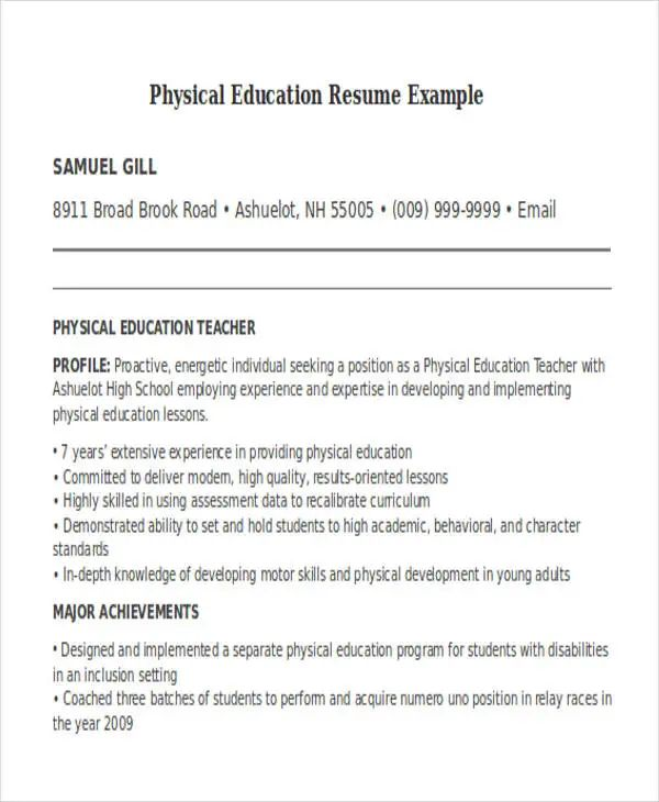 professional resume examples education