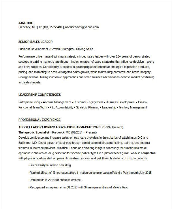 19+ Sales Resume Templates - PDF, DOC Free  Premium Templates - Resumes For Sales