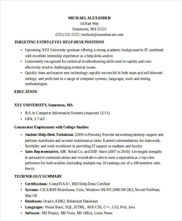 sample resume basic