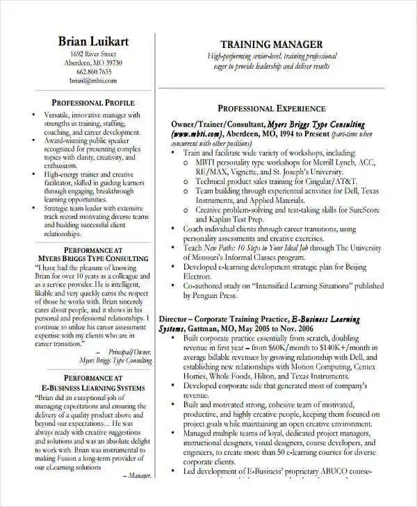 30+ Basic Sales Resume Templates - PDF, DOC Free  Premium Templates - training resume