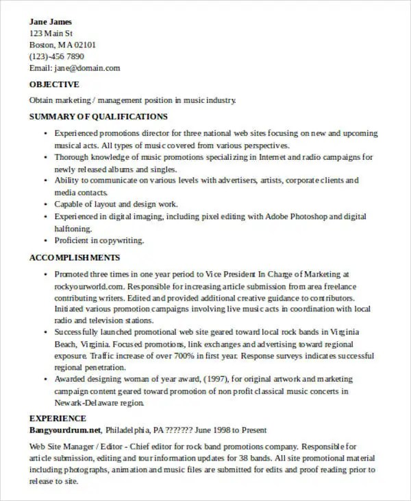 music industry essay music industry resume objective for resumes 22 - Music Industry Resume