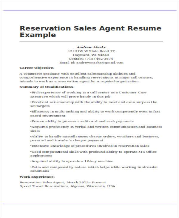 sales agent resume - Josemulinohouse - airline reservation agent sample resume